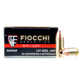 Image For 50 Rounds Of 147 Grain JHP Boxer Brass 9mm Fiocchi Ammunition