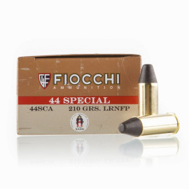 Image For 50 Rounds Of 210 Grain LRN-FP Boxer Brass 44 S&W Special Fiocchi Ammunition
