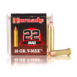 Image For 50 Rounds Of 30 Grain V-MAX Rimfire Brass 22 WMR Hornady Ammunition