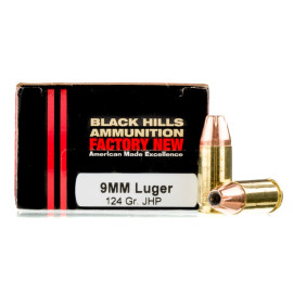 Image For 20 Rounds Of 124 Grain JHP Boxer Brass 9mm Black Hills Ammunition Ammunition