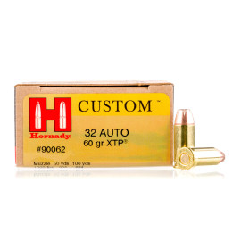 Image For 25 Rounds Of 60 Grain JHP Boxer Brass 32 ACP Hornady Ammunition
