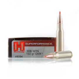 Image For 20 Rounds Of 150 Grain GMX Boxer Brass 308 Win Hornady Ammunition