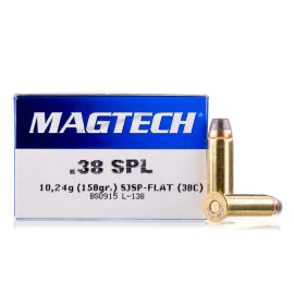 Image For 50 Rounds Of 158 Grain SJSP Boxer Brass 38 Special Magtech Ammunition