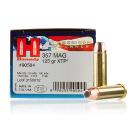 Image For 25 Rounds Of 125 Grain JHP Boxer Brass 357 Magnum Hornady Ammunition
