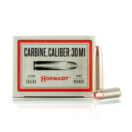 Image For 50 Rounds Of 110 Grain FMJ Boxer Brass 30 Carbine Hornady Ammunition
