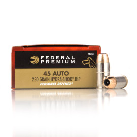 Image For 20 Rounds Of 230 Grain JHP Boxer Nickel-Plated Brass 45 Auto Federal Ammunition