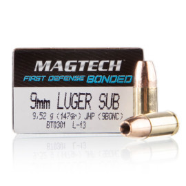 Image For 50 Rounds Of 147 Grain JHP Boxer Brass 9mm Magtech Ammunition