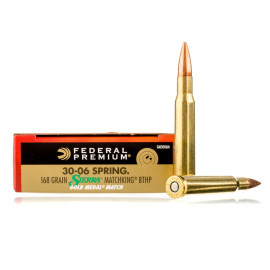Image For 20 Rounds Of 168 Grain HPBT Boxer Brass 30-06 Federal Ammunition