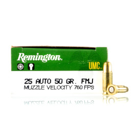 Image For 50 Rounds Of 50 Grain FMJ Boxer Brass 25 ACP Remington Ammunition