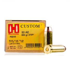 Image For 200 Rounds Of 300 Grain JHP Boxer Brass 50 Action Express Hornady Ammunition