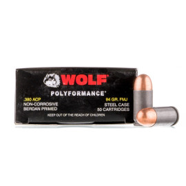 Image For 50 Rounds Of 94 Grain FMJ Berdan Steel 380 ACP Wolf Ammunition