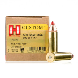 Image For 20 Rounds Of 300 Grain JHP Boxer Brass 500 S&W Magnum Hornady Ammunition