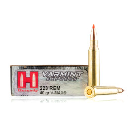 Image For 20 Rounds Of 40 Grain V-MAX Boxer Brass 223 Rem Hornady Ammunition