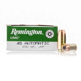 Image For 50 Rounds Of 230 Grain JHP Boxer Brass 45 Auto Remington Ammunition