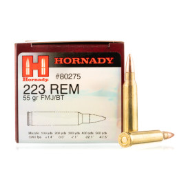 Image For 50 Rounds Of 55 Grain FMJ Boxer Brass 223 Rem Hornady Ammunition