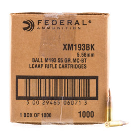 Image For 1000 Rounds Of 55 Grain FMJ-BT Boxer Brass 5.56x45 Federal Ammunition