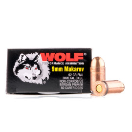 Image For 50 Rounds Of 92 Grain FMJ Berdan Steel 9mm Makarov Wolf Ammunition