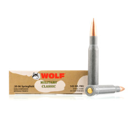 Image For 500 Rounds Of 145 Grain FMJ Berdan Steel 30-06 Wolf Ammunition