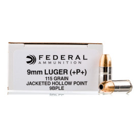 Image For 50 Rounds Of 115 Grain JHP Boxer Nickel-Plated Brass 9mm Federal Ammunition