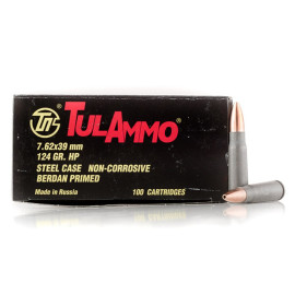 Image For 100 Rounds Of 124 Grain HP Berdan Steel 7.62x39 TulAmmo Ammunition