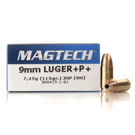 Image For 50 Rounds Of 115 Grain JHP Boxer Brass 9mm Magtech Ammunition