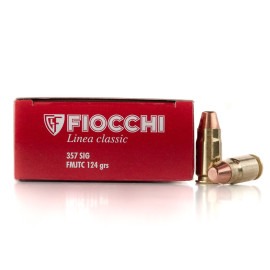 Image For 50 Rounds Of 124 Grain FMJ Boxer Brass 357 Sig Fiocchi Ammunition