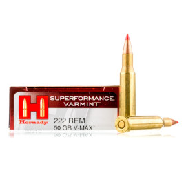 Image For 20 Rounds Of 50 Grain V-MAX Boxer Brass 222 Rem Hornady Ammunition