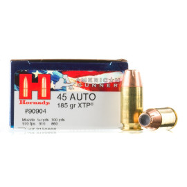Image For 20 Rounds Of 185 Grain JHP Boxer Brass 45 Auto Hornady Ammunition