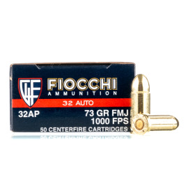 Image For 50 Rounds Of 73 Grain FMJ Boxer Brass 32 ACP Fiocchi Ammunition
