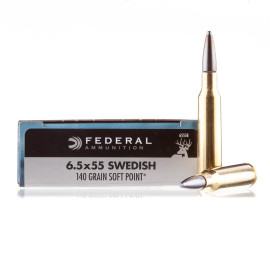 Image For 20 Rounds Of 140 Grain SP Boxer Brass 6.5x55mm Federal Ammunition