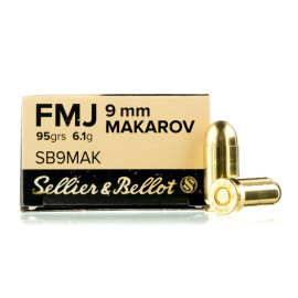 Image For 50 Rounds Of 95 Grain FMJ Boxer Brass 9mm Makarov Sellier and Bellot Ammunition