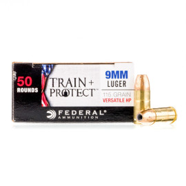 Image For 500 Rounds Of 115 Grain JHP Boxer Brass 9mm Federal Ammunition