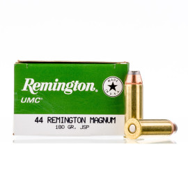 Image For 500 Rounds Of 180 Grain JSP Boxer Brass 44 Magnum Remington Ammunition