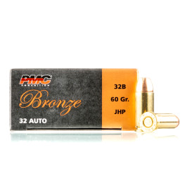 Image For 50 Rounds Of 60 Grain JHP Boxer Brass 32 ACP PMC Ammunition