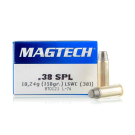Image For 50 Rounds Of 158 Grain LSWC Boxer Brass 38 Special Magtech Ammunition