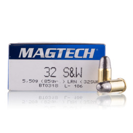Image For 1000 Rounds Of 85 Grain LRN Boxer Brass 32 S&W Magtech Ammunition