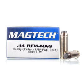 Image For 50 Rounds Of 240 Grain SJSP Boxer Brass 44 Magnum Magtech Ammunition