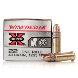 Image For 500 Rounds Of 40 Grain Copper Plated Round Nose Rimfire Brass 22 LR Winchester Ammunition