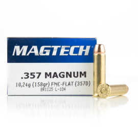 Image For 50 Rounds Of 158 Grain FMJ Boxer Brass 357 Magnum Magtech Ammunition