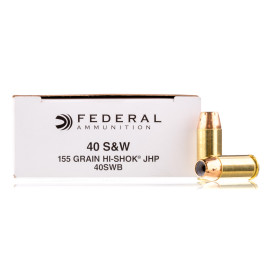 Image For 50 Rounds Of 155 Grain JHP Boxer Brass 40 Cal Federal Ammunition