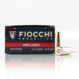 Image For 25 Rounds Of 147 Grain JHP Boxer Brass 9mm Fiocchi Ammunition