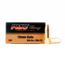 Image For 50 Rounds Of 200 Grain FMJ-TC Boxer Brass 10mm PMC Ammunition