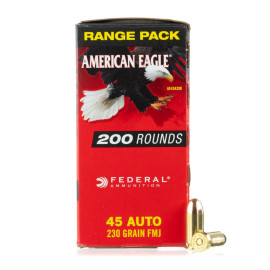 Image For 200 Rounds Of 230 Grain FMJ Boxer Brass 45 Auto Federal Ammunition