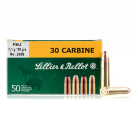 Image For 50 Rounds Of 110 Grain FMJ Boxer Brass 30 Carbine Sellier and Bellot Ammunition