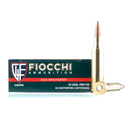 Image For 20 Rounds Of 70 Grain PSP Boxer Brass 243 Win Fiocchi Ammunition
