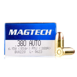 Image For 50 Rounds Of 95 Grain FMJ Boxer Brass 380 ACP Magtech Ammunition