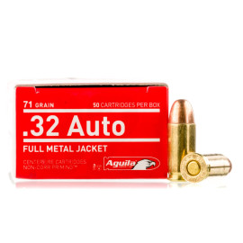Image For 50 Rounds Of 71 Grain FMJ Boxer Brass 32 ACP Aguila Ammunition