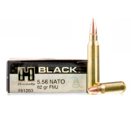 Image For 20 Rounds Of 62 Grain FMJ Boxer Brass 5.56x45 Hornady Ammunition