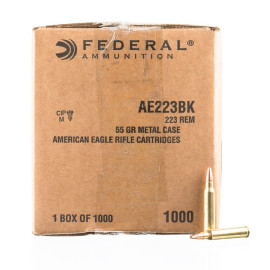 Image For 1000 Rounds Of 55 Grain FMJ-BT Boxer Brass 223 Rem Federal Ammunition