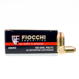 Image For 50 Rounds Of 180 Grain FMJ Boxer Brass 40 Cal Fiocchi Ammunition